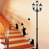 23x40CM Lamp Cat Wall Stickers Startseite Stairs Sticker dekorativ lösbaren Tapeten
