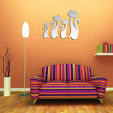 DIY 3D Four Cute Cats Acrylic Mirror Wall Stickers Home Room Art Decal