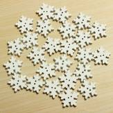 25 Christmas White Wooden Snowflake Buttons 2 Holes DIY Sewing Craft