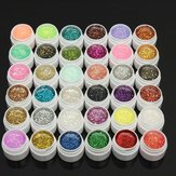 1 Pot 36 Kleuren Glitter UV Gel Builder Nagel Art Polish