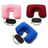 Inflatable Travel Sleeping Set U Air Cushion Pillow Earplug Eye Mask