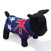 Dark Blue UK Flag Pet Dog Knitted Breathable Sweater Outwear Apparel