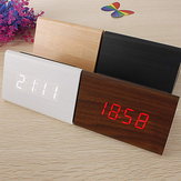 Triangular Wooden LED Alarm Clock Wood Digital Thermometer Clock