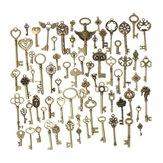 69pcs mischte Vintage Herz-Eulen-Kronen-Schlüssel-Halsketten-Anhänger Charme DIY