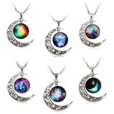 Galaxy Moon Universe Glass Cabochon Crescent Кулон Цепное ожерелье