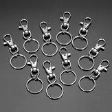 10pcs moda de aço inoxidável duplo anel de chave titular chaveiro de prata