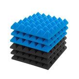 6 sztuk pianki akustyczne Studio dźwiękoszczelne kliny płytki czarne + niebieskie 12x12x2 cale