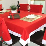 130x180cm Red Chirstmas Non-woven Fabric Table Cloth Christmas Home Party Decor