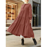 Women Round Neck Tiered Ruffle Long Sleeve Solid Kaftan Pleated Maxi Dresses