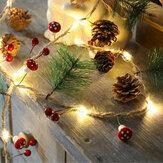 2M Грибная шишка Сосновая шишка Медь Провод Рождество LED Строка Батарея Приведенный в действие благодарением Свадебное Вечеринка Xmas Bells Укр