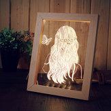 KCASA FL-716 3D Photo Frame Illuminative LED Night Light Wooden Girl Desktop Decorativa USB Lâmpada para decoração de arte de quarto Presentes de Natal