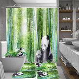 4 Pcs Panda Bambu Decouação Não-Slip Tapete Tampa Da Tampa Do Banheiro Tapete de Banho Coutina de Chuveiro para Banheiro