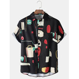 Mens 100% Cotton Vintage Print Loose Casual Short Sleeve Shirts With Pocket
