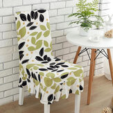 KCASA WX-PP5 Elegant Flower Elastic Stretch Chair Seat Cover With Skirt Hem Dining Room Home Wedding Decor