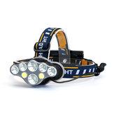 XANES®2606-8A3300LM2T6+4 * XPE + 2 * COB LED Lampe frontale 8 modes avec 2 * 18650 Batteries Lanterne d'urgence pour la chasse au vélo, rechargeable en camping
