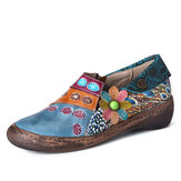 SOCOFY Retro Colorful Floral Splicing Fancy Padrão Sapatos rasos de couro com zíper lateral