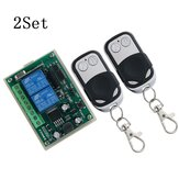 2Set 433MHz DC 12V24V 2-Way Remote Control Switch 2 Channel Relay Module Motor Forward and Reverse Controller