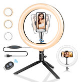 BlitzWolf® BW-SL3 10inch Dimbare LED Ring Light Statief USB-plug voor TikTok Youtube Live Stream Make-up met telefoonclip