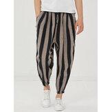 Piedi da uomo con coulisse casual a righe in cotone 100% Pantaloni