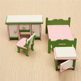 Dollhouse Miniature Bedroom Kit Wooden Furniture Set Families Role Play Toy