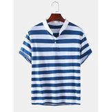 Mens Stripe Stand Collar manches courtes Casual Henley Shirts
