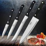 4adetMYVITPaslanmazÇelikŞef Bıçak Seti 3CR13 Mutfak Bıçağı Cook Japon Mutfak Bıçağı Keskin Et Cleaver Mutfak Aksesuarla