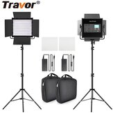 Travor L4500K Bi-color 2 Set LED Video Light Kit Professional Camera Light Dimmable Fill Light Video with Tripod and Bag