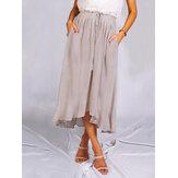 Женские однотонные повседневные юбки с завязками на шнуровке и поясом с карманом