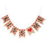Jute Винтаж Hessian Burlap Bunting Banner Романтическая любовь Сердце Свадебное Флаги для вечеринок