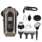 Barbeador elétrico rotativo 5 EM 1 6D USB barbeador recarregável para cabeça careca IPX7 tela impermeável LED