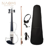 NAOMI 4/4フルサイズ電気バイオリンフィドル5弦サイレントバイオリンアクセサリー
