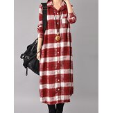 Women Button Down Plaid Shirt Dress