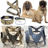 Unisex Baru Spiked Studded Leather Dog Harness Taktis Collar Leash Set Pitbull Mastiff Training Fraim