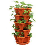 Stackable Planter Pots Garden Outdoor Strawberry Herb Flower Vegetable Vertical Gardening Decorations