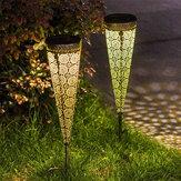 2Pcs Solar Powered LED Garden Hollowed Light Floor Decking Patio Decor Yard Lamp