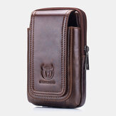 Bullcaptain Men Vintage Genuine Waist Bag Phone Bag Belt Bag