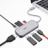 BlitzWolf® BW-TH5 Hub de dados USB-C 7 em 1 com 3 portas USB 3.0 Leitor de cartão TF USB-C PD Carregamento USB-C PD Display 4K Hub USB para MacBooks Notebook Pros