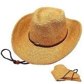 Chapeau de cowboy en paille pliable Panama unisexe Classic Western Beach Sun Wide Brim Bucket Caps