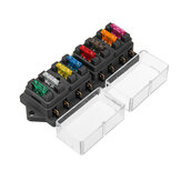 12V Universal Motor 8 Way Circuit Standard Blade Fuse Box Holder