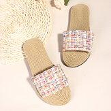Women Casual  Woven Soft Sole Flats Slide Slippers