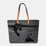 Women Canvas Large Capacity Stripe Three-dimensional  Cartoon Cute Cat Handbag Shoulder Bag Tote