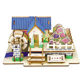 3D DIY Wooden Puzzle Dollhouse Handmade Wooden Building Model Educational Puzzle Toy for Kid Creative Gift