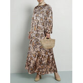 Women Ethnic Style Paisley Floral Print O-Neck Bohemian Long Sleeve Maxi Dress