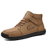 Men Microfiber Leather Hand Stitching Non Slip Soft Casual Ankle Boots