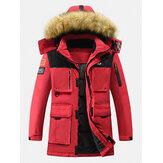 Casaco masculino com capuz e casaco de pele com capuz e zíper engrossado para inverno