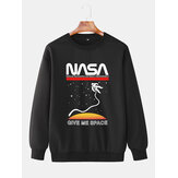 Mens NASA & Astronaut Print Pullover Long Sleeve Casual Cotton Sweatshirts