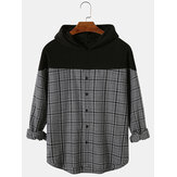 Mens Plaid Patchwork Button Casual Drop Shoulder Pleated Hoodies For Men