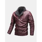 Mens Multi Pocket Zipper Button Long Sleeve Warm PU Leather Biker Jacket