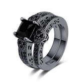 2Pcs/set Classic Engagement Ring Gun Black Zirconia Heart Ring Sets for Women
