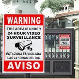 24 horas video video espanhol do metal da segurança da etiqueta do sinal de aviso da fiscalização